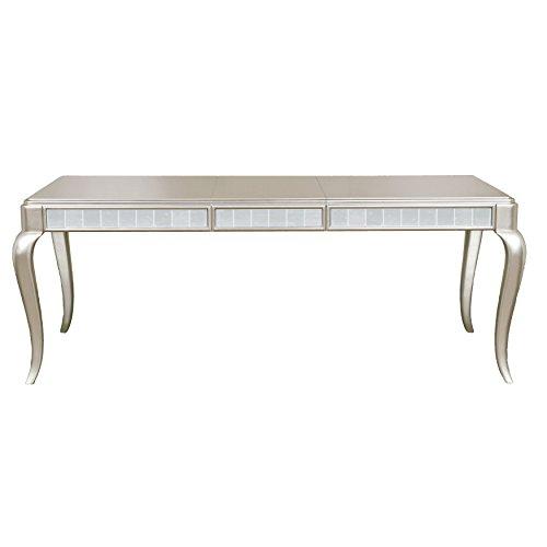 Pulaski Diva Mirror Paneled Rectangular Leg Table In Platinum