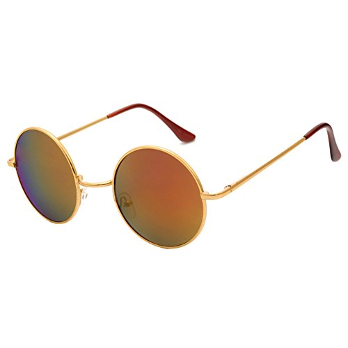 Lunettes New soleil Or Colorful Red Eyewear Femme Cadre Lens Homme Retro Rond hibote Glasses de WYn8qSdUUa