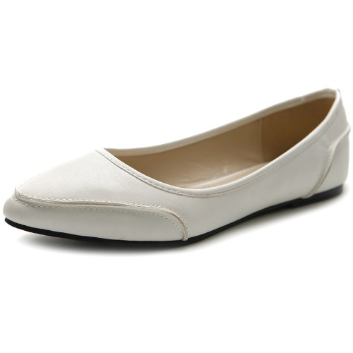 Ollio Women's Shoe Ballet Pointed Toe Pastel Low Flat (6 B(M) US, White) Pastel Ballet Shoes