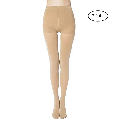 MANZI 2 Pairs Women's Run Resistant Control Top Panty Hose Opaque Tights(X-large,Nude) -