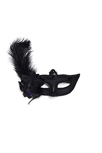 Venetian Masquerade Mask With Feathers & Lace Mardi Gras Ball Prom Vintage Flower (Black)
