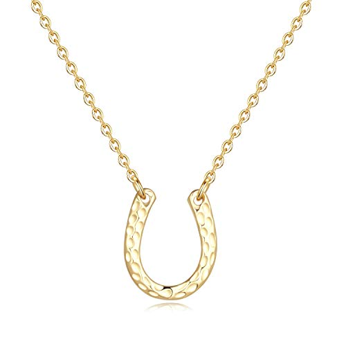 Lucky Horseshoe Necklace for Women Gifts - Gold Plated Tiny Lucky Horseshoe Pendant Necklace for Women Girls, Horseshoe Necklace Horse Gifts Teen Gifts Teen Girl Gifts Baby Girl Gifts Cowboy Gifts