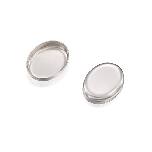 Oval Setting 925 Sterling Silver 6 x 8 mm Bezel Cup Findings for Rings Pendants Charms Earrings, 12 Pcs ()