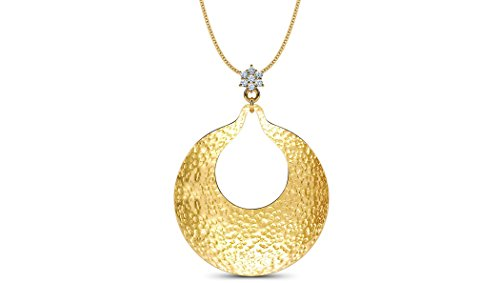 14 K Or blanc 0,06 CT TW Round-cut-diamond (IJ | SI) Pendentif