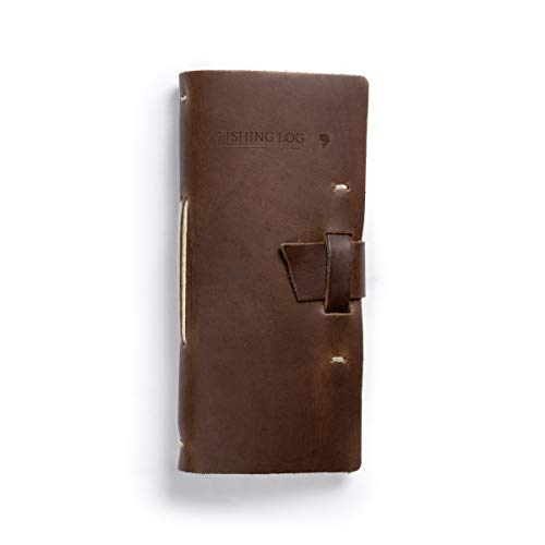 Rustico Leather Fishing Log Book Designed by and for Fishermen. with Template, Records Details of Fishing Trip, Including Date, Time, Location, and Weather Conditions (Dark Brown)