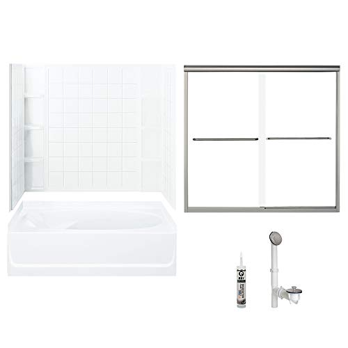 Sterling 7110R-5405NC-B-0 Ensemble 60-in x 36-in Vikrell 5-Piece Bath and Shower Kit with Backers/Clear Door, 72-in L x 40-in W x 48-in H, White/Brushed - 60 Nickel Brushed Ensemble Inch