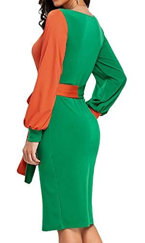 Long s Work Business V Green Women Midi Colors Neck Sleeve Dress Bodycon4U Two Deep 60qaxgx