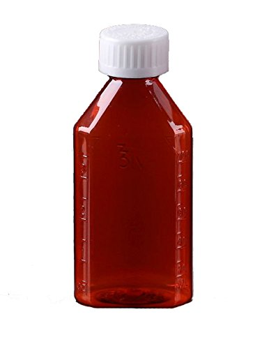 Oval Pharmacy Bottle for Liquid Medicine - Amber Medicine Bottle - Child Resistant Cap - 3 oz - Pack of 100 - Prescription Pharmacy Bottle, Pharmacy Container, Prescription Plastic Container by Sponix