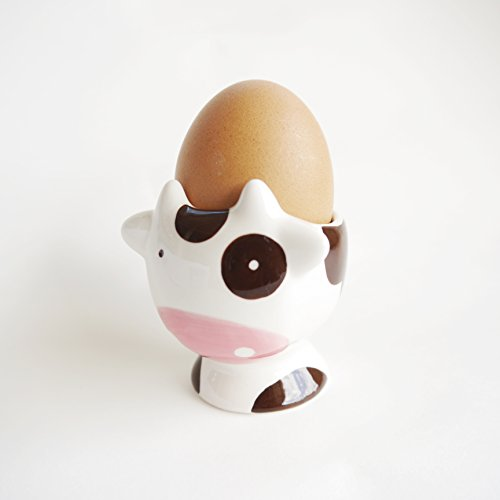 Cow Tabletop (Egg Cup Holder Soft or Hard-Boiled Egg Breakfast For Tabletop Decor,Baby Toddler Small Feeding Bowl,Collectables Ceramic (Cow))