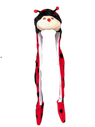 Plush LED Light Up Animal Hat, Fleece Lined w/Scarf/Mittens (Ladybug) ()