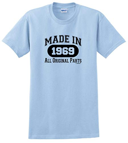 50th Birthday Gift Made 1969 All Original Parts T-Shirt Large Lt. Blue -