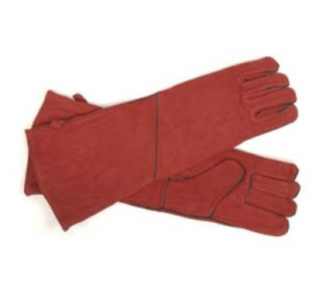 Woodeze Heat Resistant Hand Protective Wood Stove Fireplace Hearth Long Arm Gloves - 20 Long - Red