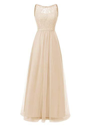 Damen Champagner Tüll Lang JAEDEN A Abendkleider Hochzeitskleider Brautjungfernkleider Linie Ballkleider xHCzqw6