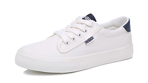 Sfnld Womens Lace Up Low Top Flat Canvas Sneakers White gn090V