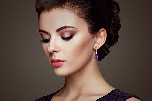 Certified 14k Yellow or White Gold Cushion Cut Gemstone Dangle Leverback Earrings 8mm