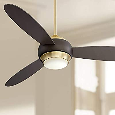 "54"" Casa Vieja Lynx Soft Brass and Bronze LED Ceiling Fan"