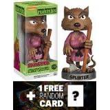 Splinter Bobble Head Figure: TMNT x Wacky Wobbler Series + 1 FREE Official classic TMNT Trading Card Bundle