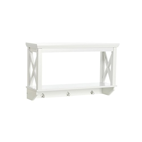 26'' x 15.35'' Bathroom Shelf- Has three hanging hooks for towels or clothes-Modern and clean X-frame design-Wipe clean with damp cloth- Painted E2 grade MDF and solid pine wood construction*