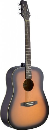 Stagg SA30D-BS Dreadnought Acoustic Guitar with Linden Top – Matte Brown Sunburst