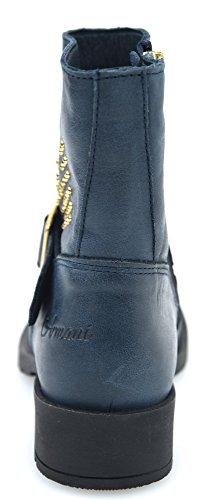 Armani Junior Bambino, Ragazze, Signore Stivali Biker Boots Arte In Pelle Blu. Uk 6 Indaco - - B3529 39 Eu - 6.5 Usa Indigo