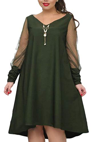 Midi Mesh Plus Long Domple Basic Patchwork Pockets Green Sleeve Dress Size Women wnIxYx4qzS