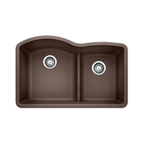 Blanco 441597 Diamond 1.75 Low Divide Under Mount Double Bowl Kitchen Sink, Large, Cafe Brown (Brown Granite Kitchen Sinks)
