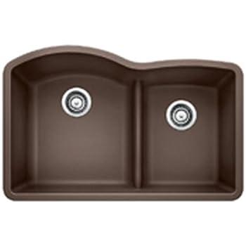 Blanco 441597 Diamond 1.75 Low Divide Under Mount Double Bowl Kitchen Sink, Large, Cafe Brown