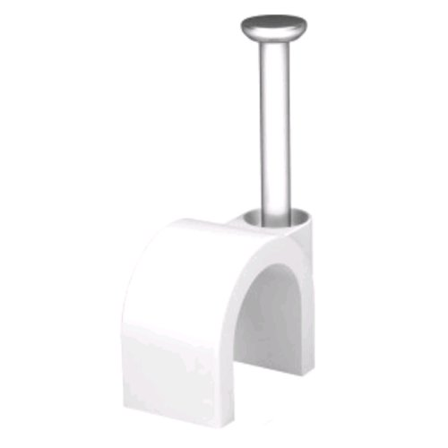 kenable White 100 x 7mm Round Cable Clips Secure Fastenings Cables - Fastening Clips