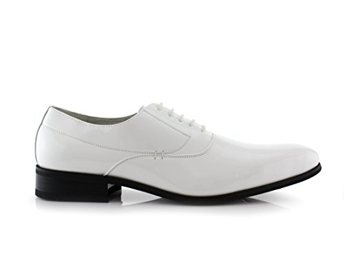 Delli Aldo Frank M19121 Hombres Oxford Oxford Lace Up Dress Blanco
