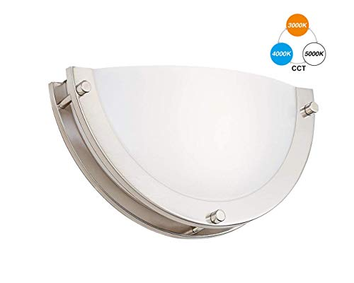 CLOUDY BAY 12-inch CRI90+15W 3000K/4000K/5000K Color Temperature Adjustable Dimmable LED Wall Sconce, ETL Listed LED Half Moon Wall Fixture, Brushed Nickel