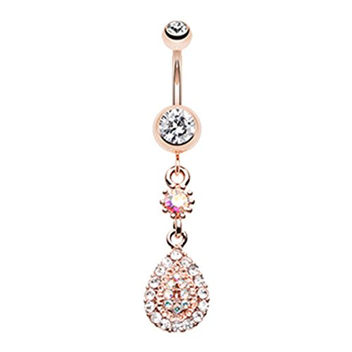 Teardrop Ring Belly Flower (Inspiration Dezigns 14G 10mm Rose Gold Elegance Teardrop Sparkle Belly Button Ring)