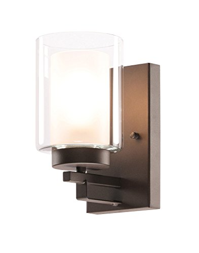 Wall Light 1 Light Bathroom Vanity Lighting with Dual Glass Shade in -