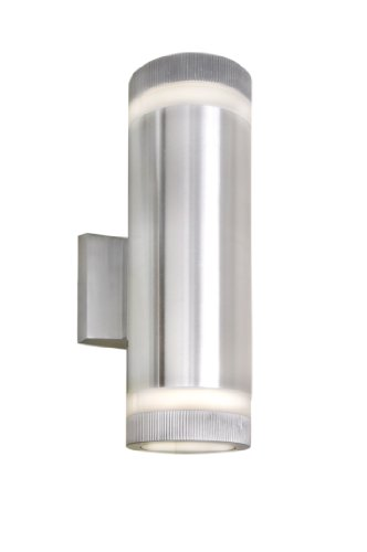 Maxim 86112AL Lightray LED 2-Light Wall Sconce, Brushed Aluminum Finish, Glass, PCB LED Bulb , 60W Max., Dry Safety Rating, Standard Dimmable, Shade Material, Rated Lumens Silver Highlights Outdoor Sconce