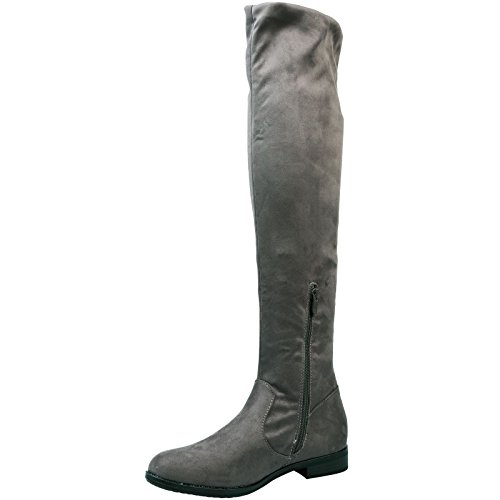 Feet First Fashion Mabel Womens Low Heel Over The Knee Boots Grey Faux Suede mDxoT