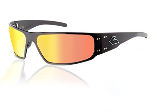 Gatorz Eyewear, Magnum Model, Aluminum Frame Sunglasses - Black/Sunburst Mirror ()