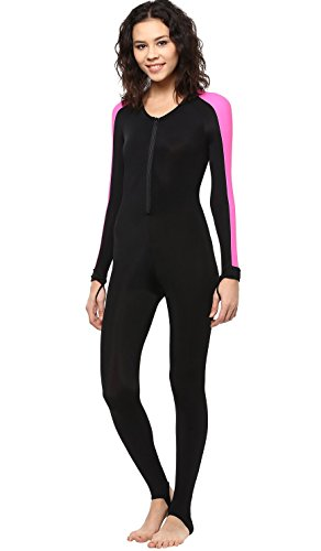 Phantom Aquatics Snorkeling Swim Lycra Skin Full Suit Wetsuit, Black/Pink, Medium