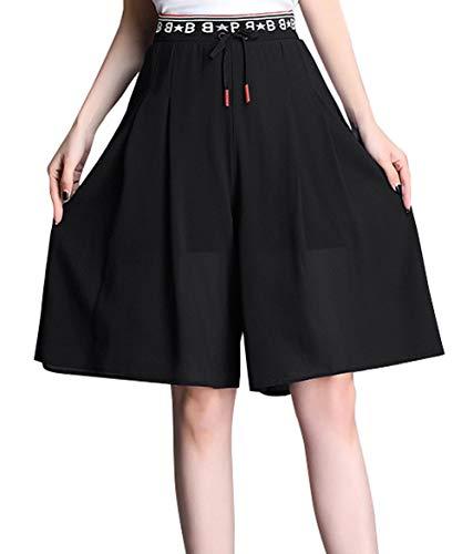 chouyatou Women's Summer Cool Knee Length Pleated Culottes Chiffon Bermuda Shorts (Small, Black) ()