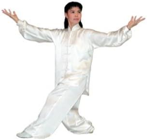 Tiger Claw Traditional長袖100 %シルクKung Fu Uniform ホワイト Small