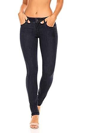 Earl Jean Women's Mid Rise Stretch Skinny Ankle Jeans (10, Dark Wash)