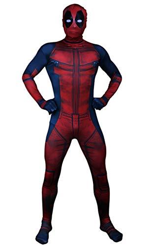 Unisex Superhero Zentai Costume Halloween Cosplay Muscle Jumpsuit Black Red Bodysuit