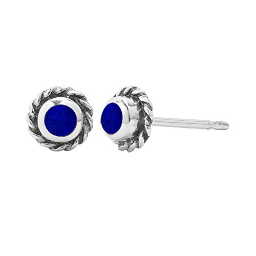 Boma Sterling Silver Synthetic Blue Lapis Circle Rope Texture Stud (Lapis Rope Earrings)