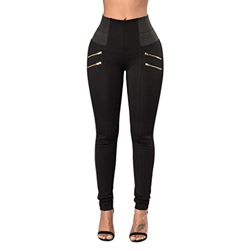 (JOFOW Womens Skinny Pants Solid Color Block Patchwork High Waist Zipper Ruched Butt Straight Leg Casual Slim Long Trousers (M,Black))