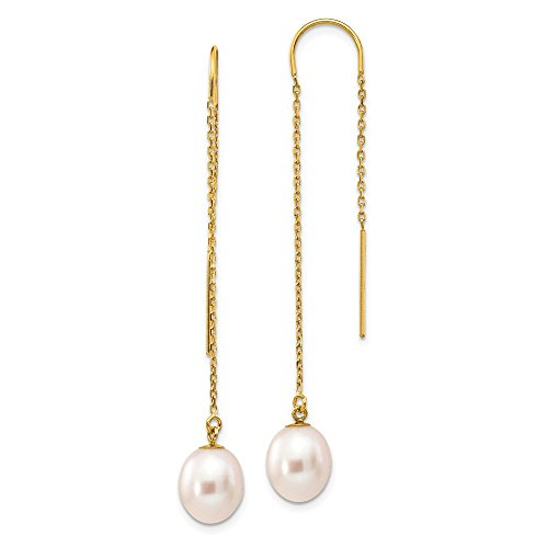 14K Yellow Gold 7-8mm White Rice Freshwater Cultured Pearl Dangle Threader Earrings