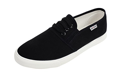 IF FEEL Womens Canvas Black Slip On Shoes Casual Loafers Comfortable Walking Fashion Sneakers - Size (Canvas Slip Ons Womens Shoes)