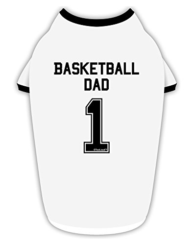TooLoud Basketball Dad Jersey Cotton Dog Shirt White with Black XL
