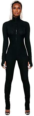 XLLAIS Women High Neck Zipper Ruched Bodycon Jumpsuit Tracksuit with Thumb Hole