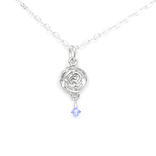 (June Flower Rose Necklace with Birthstone Colored Crystal - Gift Packaged - Handcrafted Pewter Made in USA)