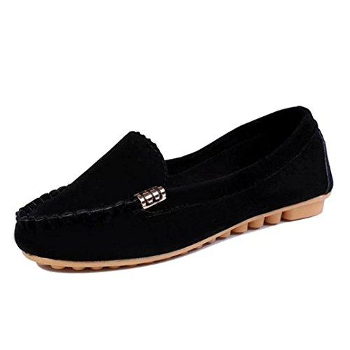 Ama (tm) Dames Comfort Instappers Flats Casual Slip Op Platte Pumps Schoenen Zwart
