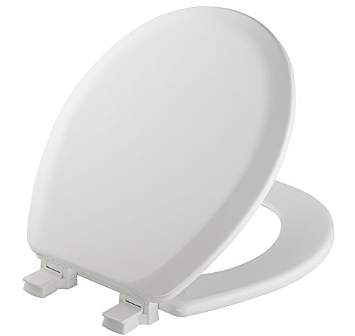 (MAYFAIR Toilet Seat will Never Loosen and Easily Remove, ROUND, Durable Enameled Wood, White, 41EC 000)