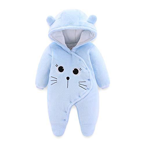JIANLANPTT Winter Thicken Baby Coverall Newborns Baby Girls Boys Romper Lovely Jumpsuits Light Blue 4-6months